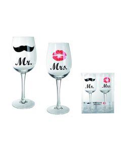 Wijnglazen Mr & Mrs
