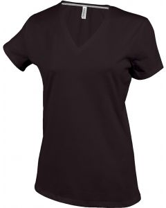 Ladies T-shirt V-neck chocolate