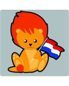 Perstransfer: Leeuwtje met vlag 10 cm