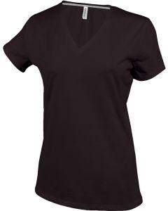 Ladies T-shirt V-neck chocolate